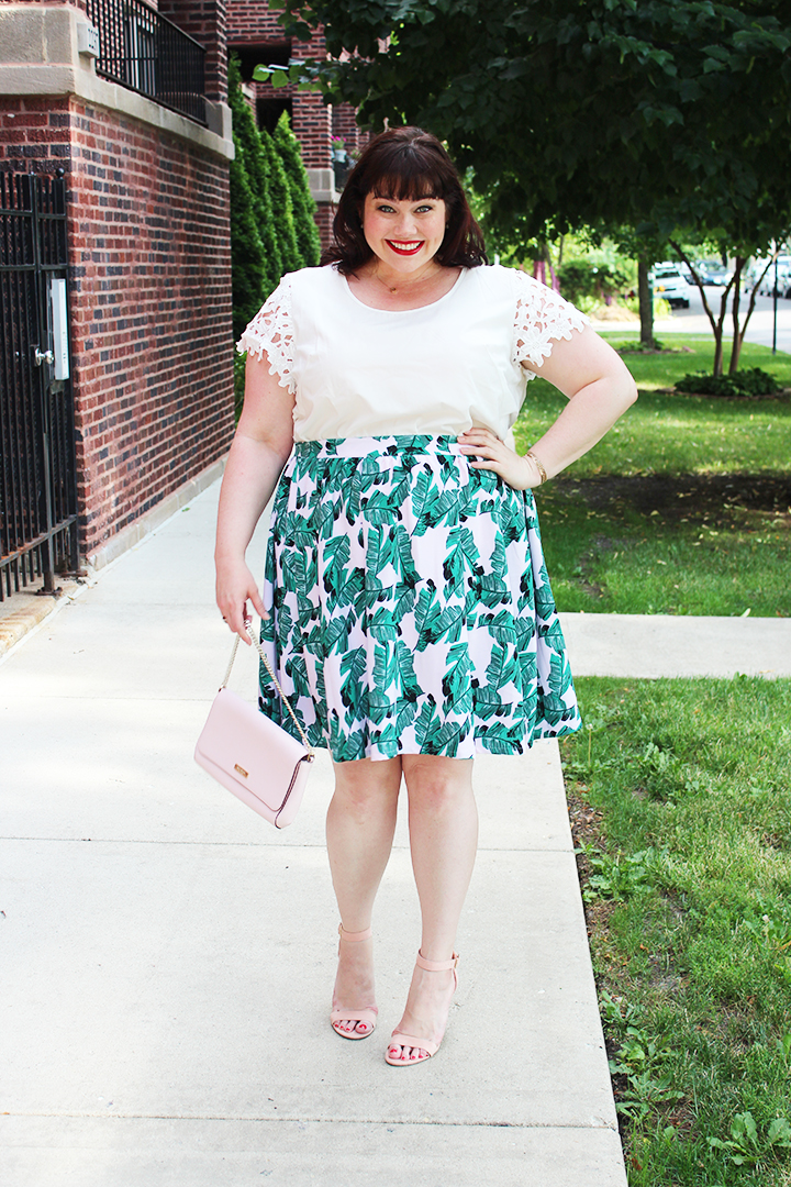 Modamix Plus Size Palm Print Skirt from Lord & Taylor