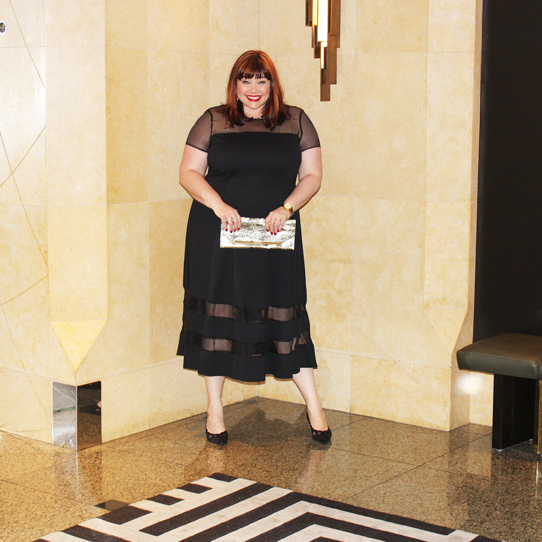 Chicago Plus Size Blogger Amber from Style Plus Curves in a Roaman's Black Organza Trim Midi Dress from Fullbeauty.com, fall fashion, LBD
