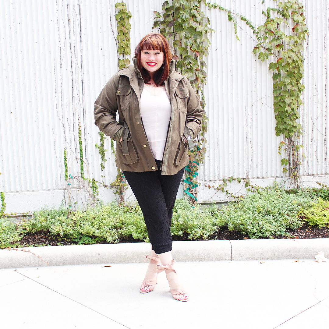 fe8ce20b6e836 Chicago Plus Size Blogger Amber from Style Plus Curves in Black Lace Jogger  Pants