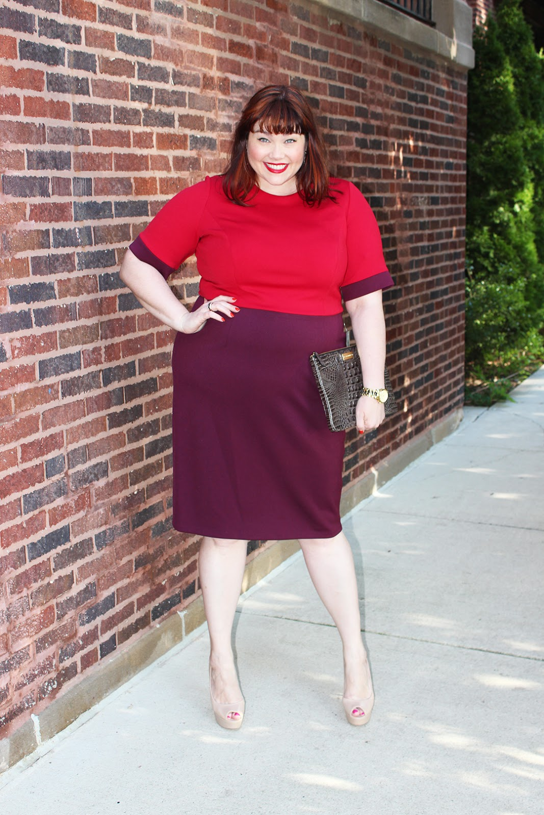 Chicago Plus Size Blogger Amber from Style Plus Curves in a Maggy London Plus Size Sheath Dress Red and Burgundy