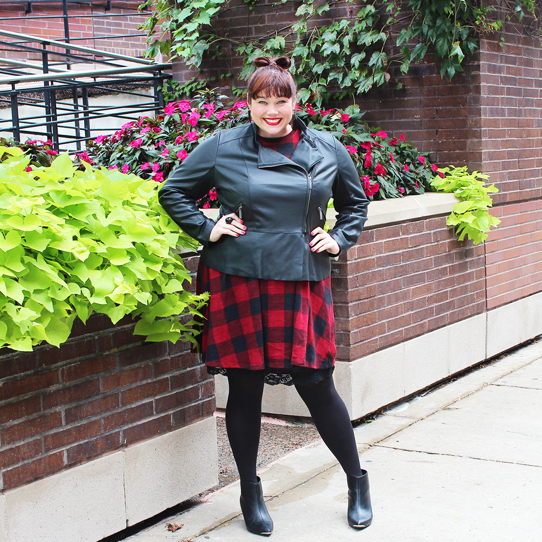Chicago Plus Size Blogger Amber from Style Plus Curves in a Leather Peplum Moto Jacket from Lane Bryant and Red Plaid Dress