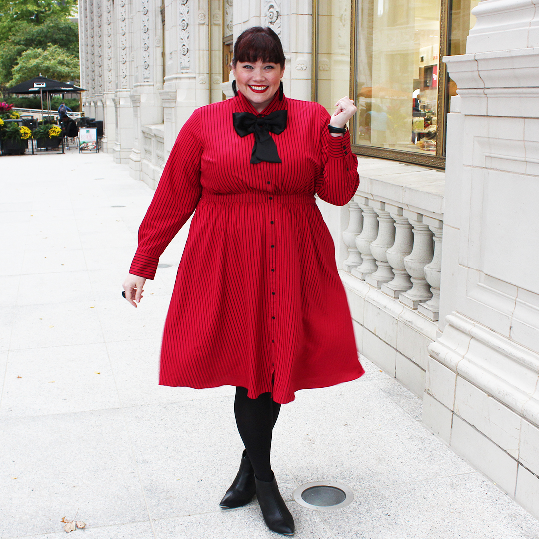 e8230d52b55 Chicago Plus Size Blogger Amber from Style Plus Curves in Lane Bryant x  Glamour Collection red