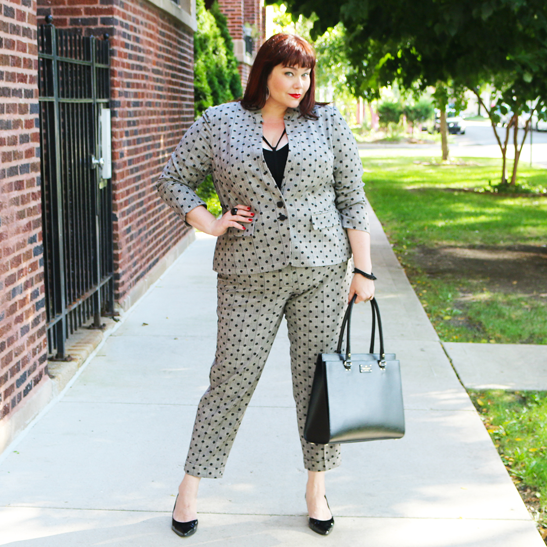 Plus Size polka dot suit from Lane Bryant