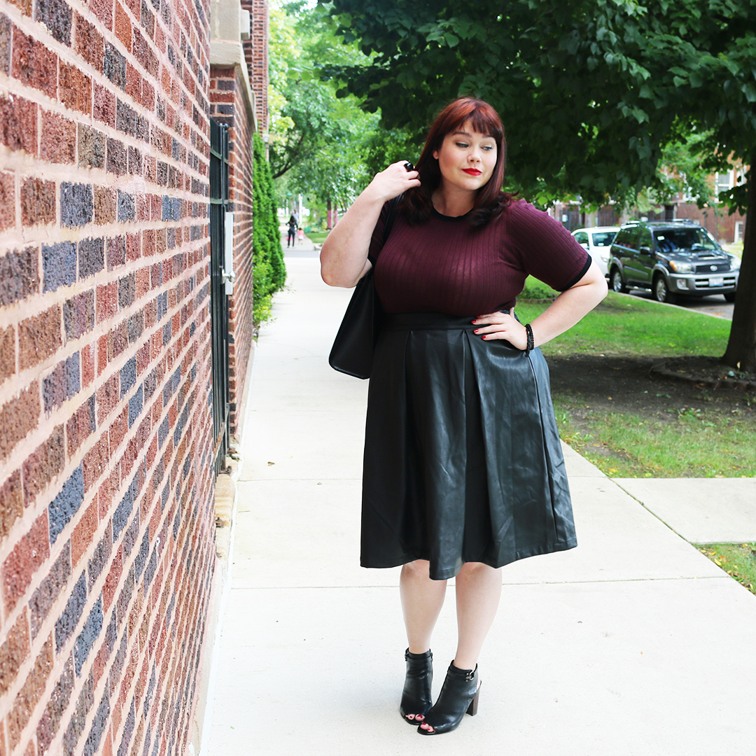 Plus Size Faux Leather Skirts - raveitsafe