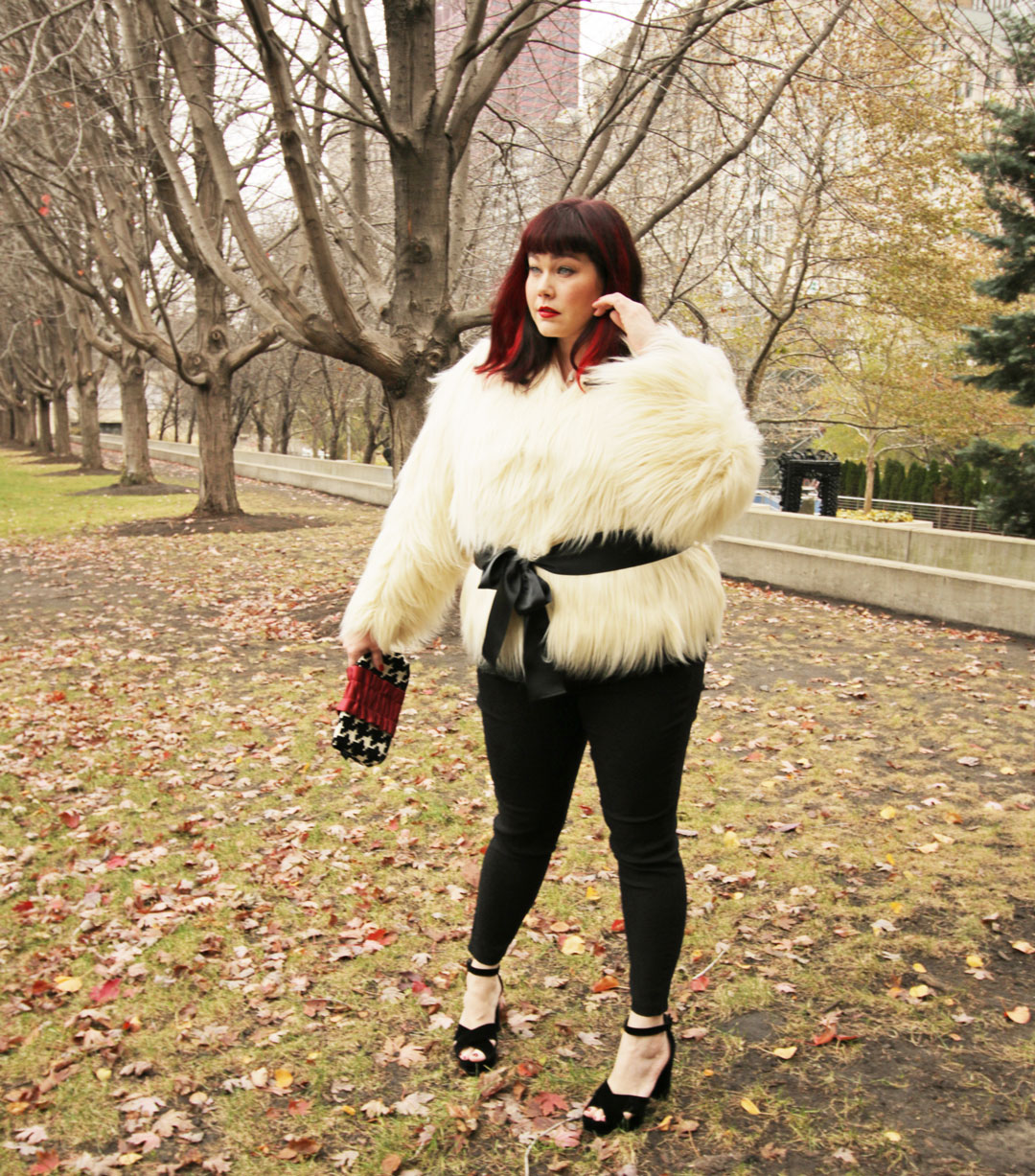Plus Size Blogger Amber from Style Plus Curves in a White Fur Jacket from Lane Bryant