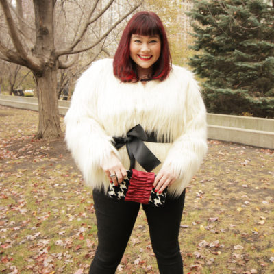 Plus Size Blogger in a Faux Fur Jacket from Lane Bryant