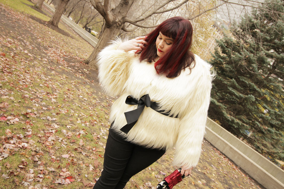 Plus Size Blogger Style Plus Curves in a Plus Size Fur Jacket from Lane Bryant