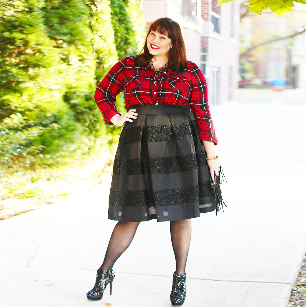 Chicago Plus Size Blogger Amber from Style Plus Curves in a Plaid Shirt and Black Skirt, holiday style, party