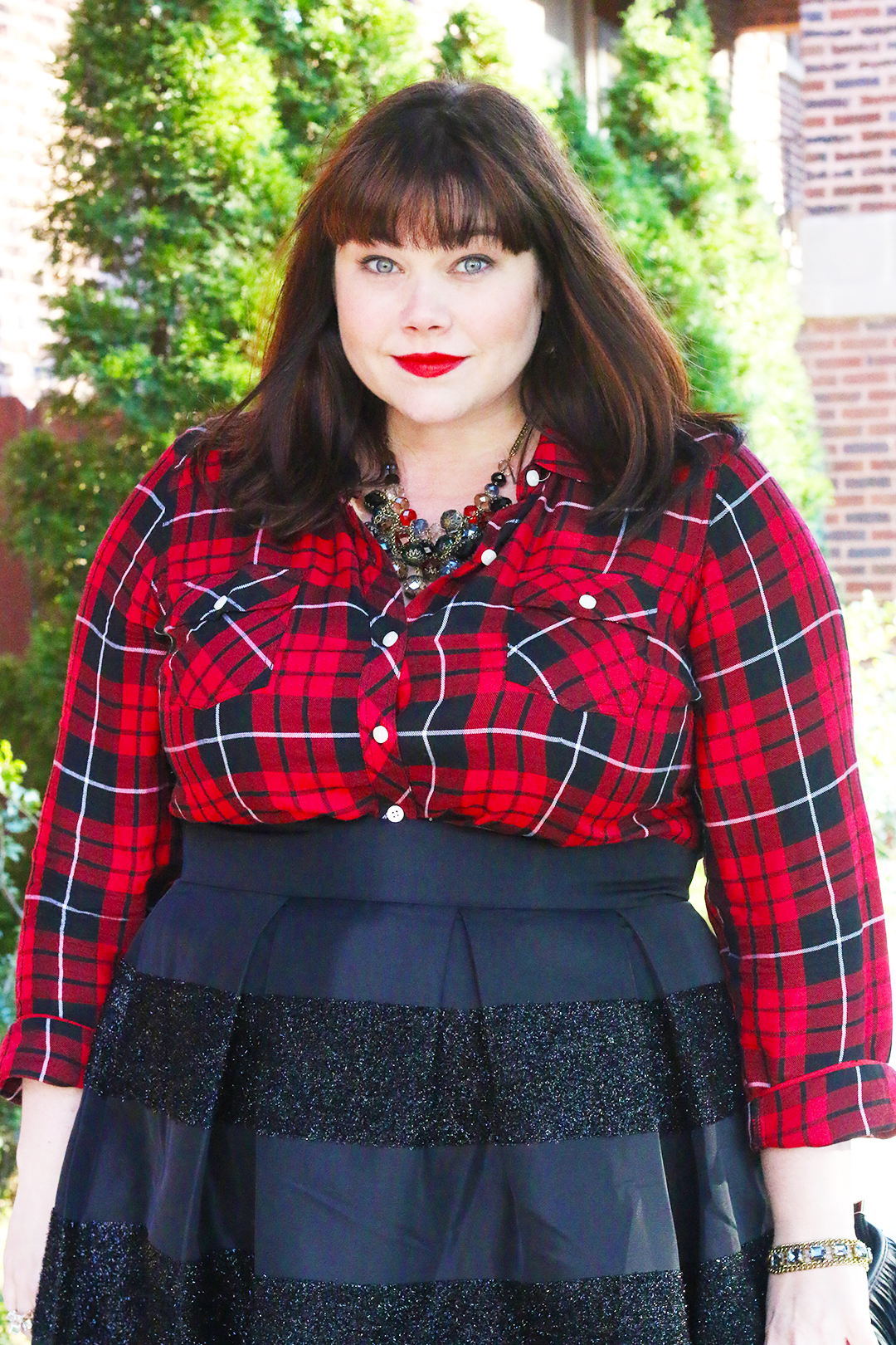 Plus Size Holiday Style Party Plaid