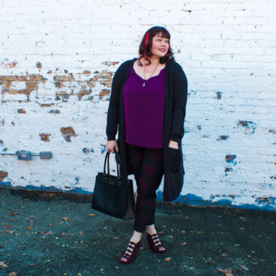 Plus Size Blogger Amber from Style Plus Curves in a Long Cardigan from Gwynnie Bee