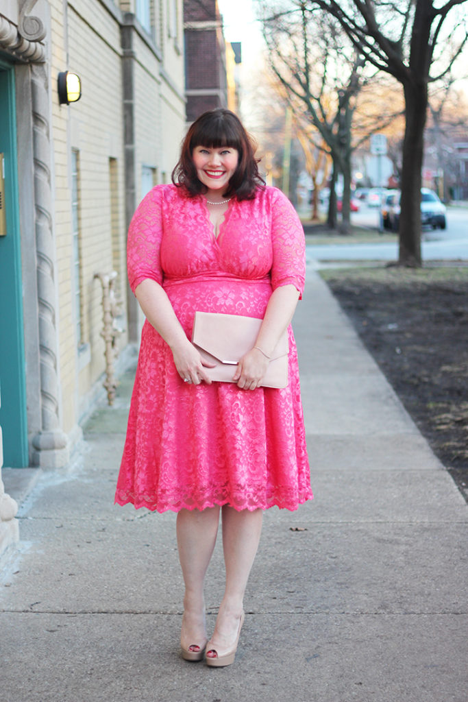 Plus Size Blogger Amber from Style Plus Curves in Pink Lace Dress from Kiyonna