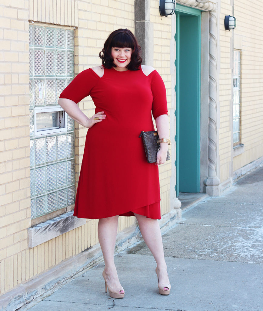 Plus Size Blogger Amber from Style Plus Curves in Kiyonna Racy Red Wrap Dress