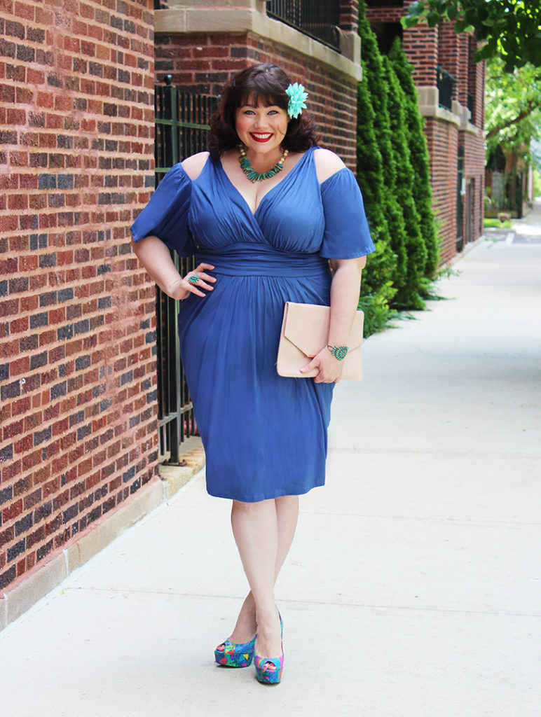 Plus Size Blogger Amber from Style Plus Curves in Blue Dress by Kiyonna