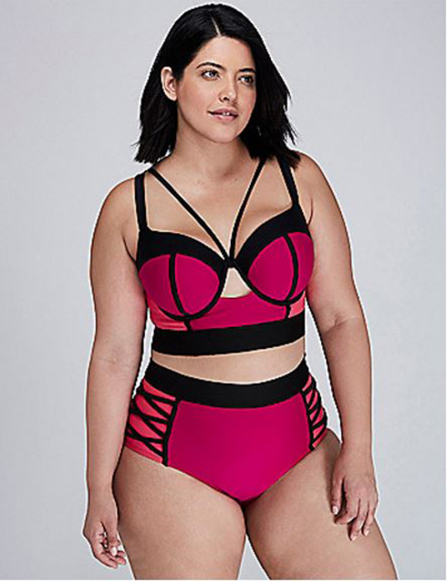 Colorblock Plus Size Bikini in Fuchsia with Corset Longline Top