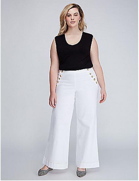 Plus Size White Sailor Pants from Lane Bryant