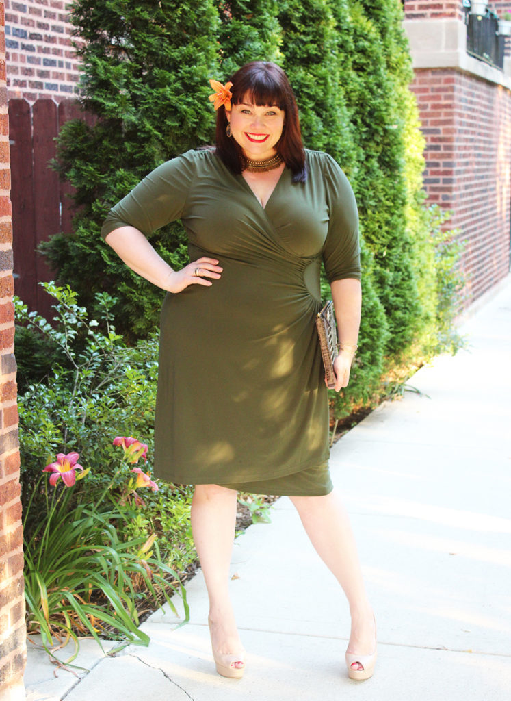 Plus Size Blogger Amber from Style Plus Curves in a Ciara Ruched Olive Dress from Kiyonna