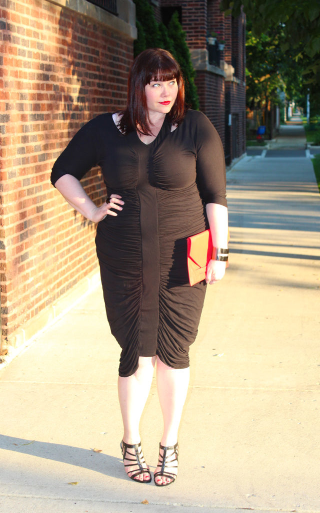 Plus Size Blogger Amber in Kiyonna Ruched Dress