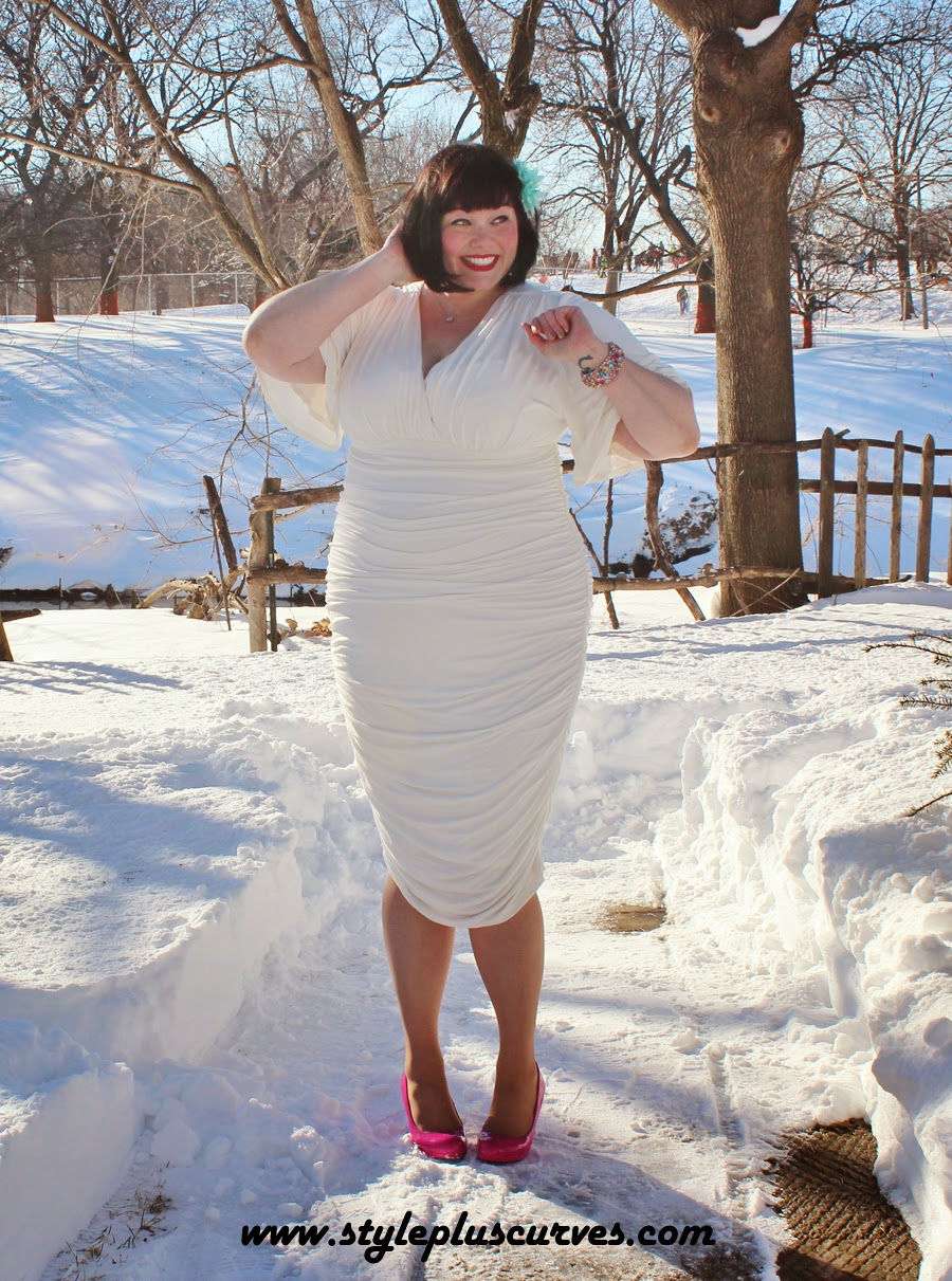 Plus Size Blogger Amber in a White Ruched Dress from Kiyonna