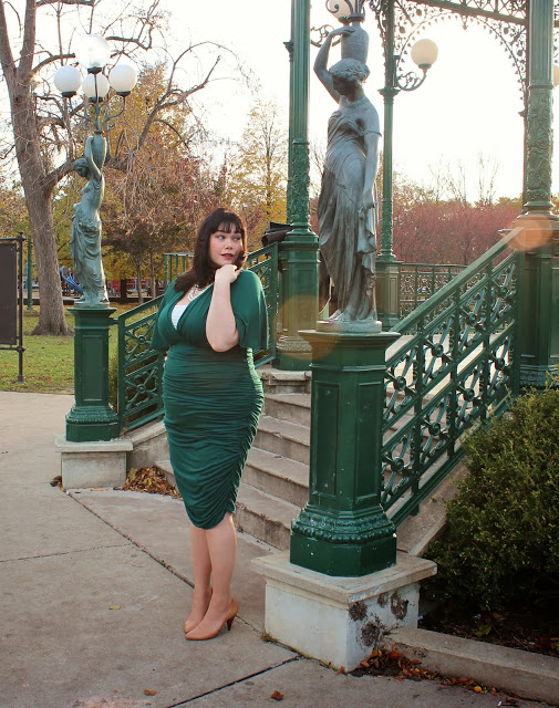 Plus Size Blogger Amber from Style Plus Curves in Green Kiyonna Rumor Ruched Dress
