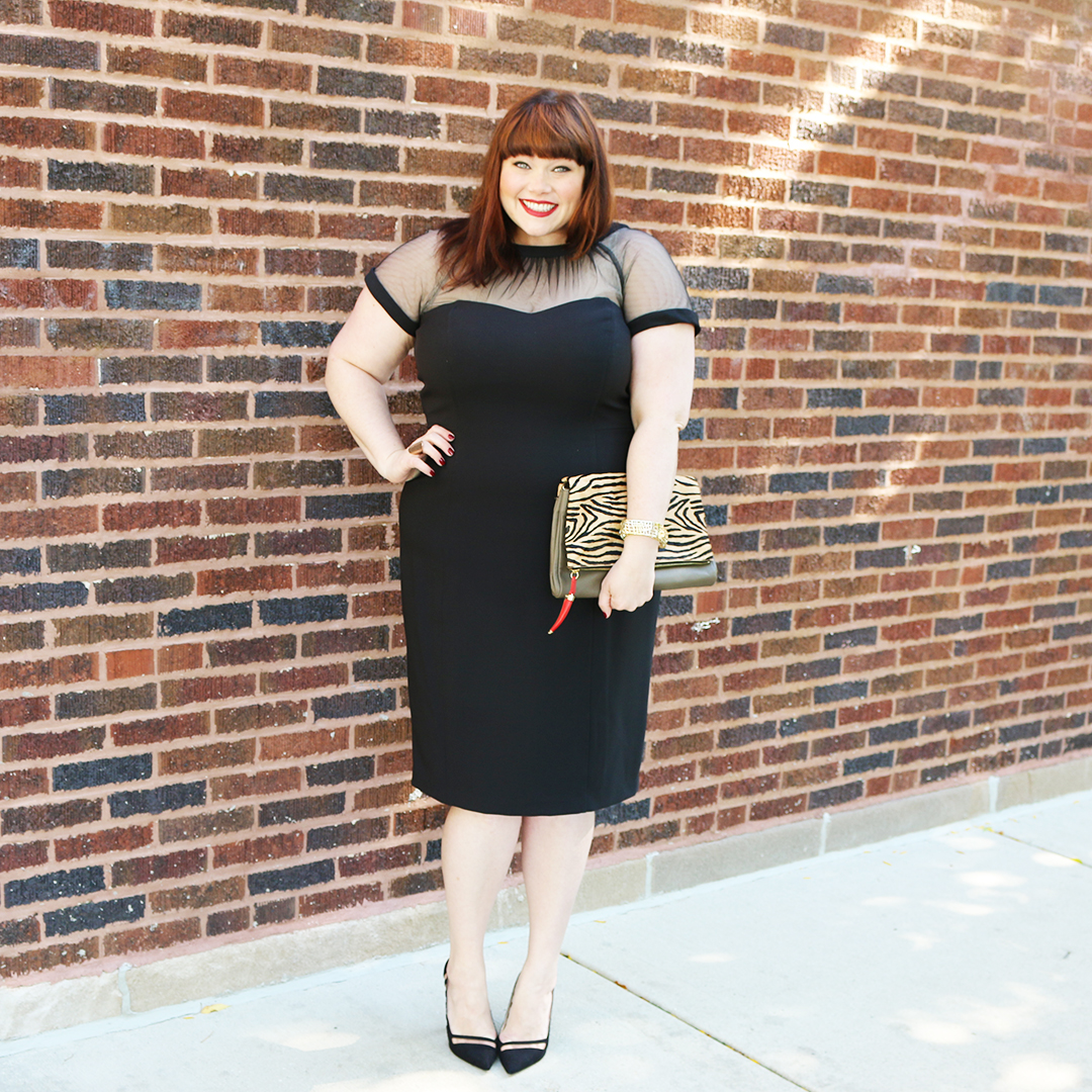 Maggy London Illusion Sheath Dress on Plus Size Blogger