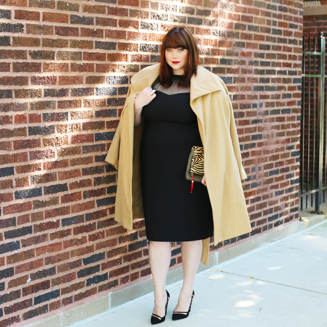 Plus Size Blogger in Maggy London dress and Jessica London Coat