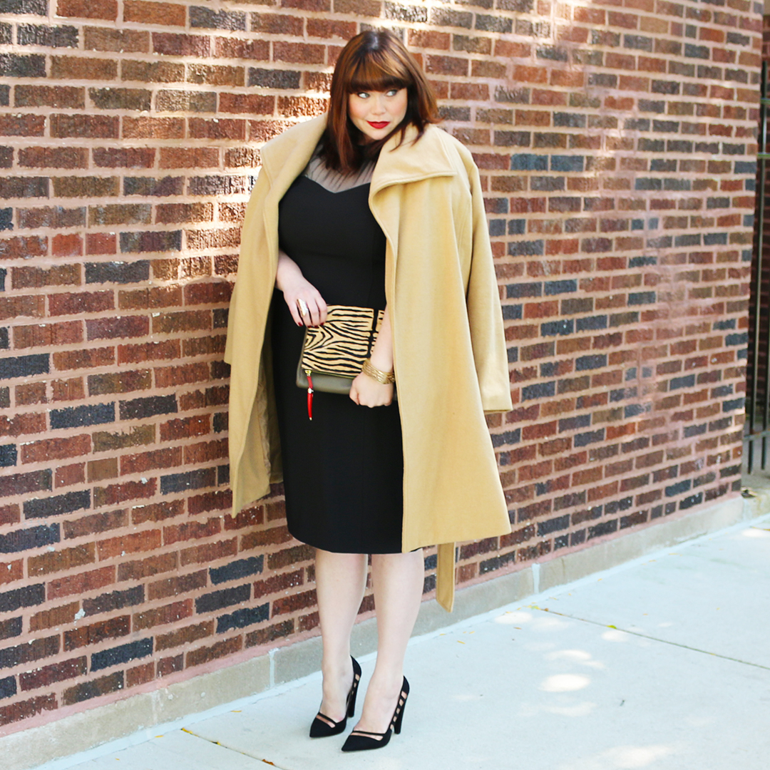 Plus Size Blogger in Camel Coat and Black Dress
