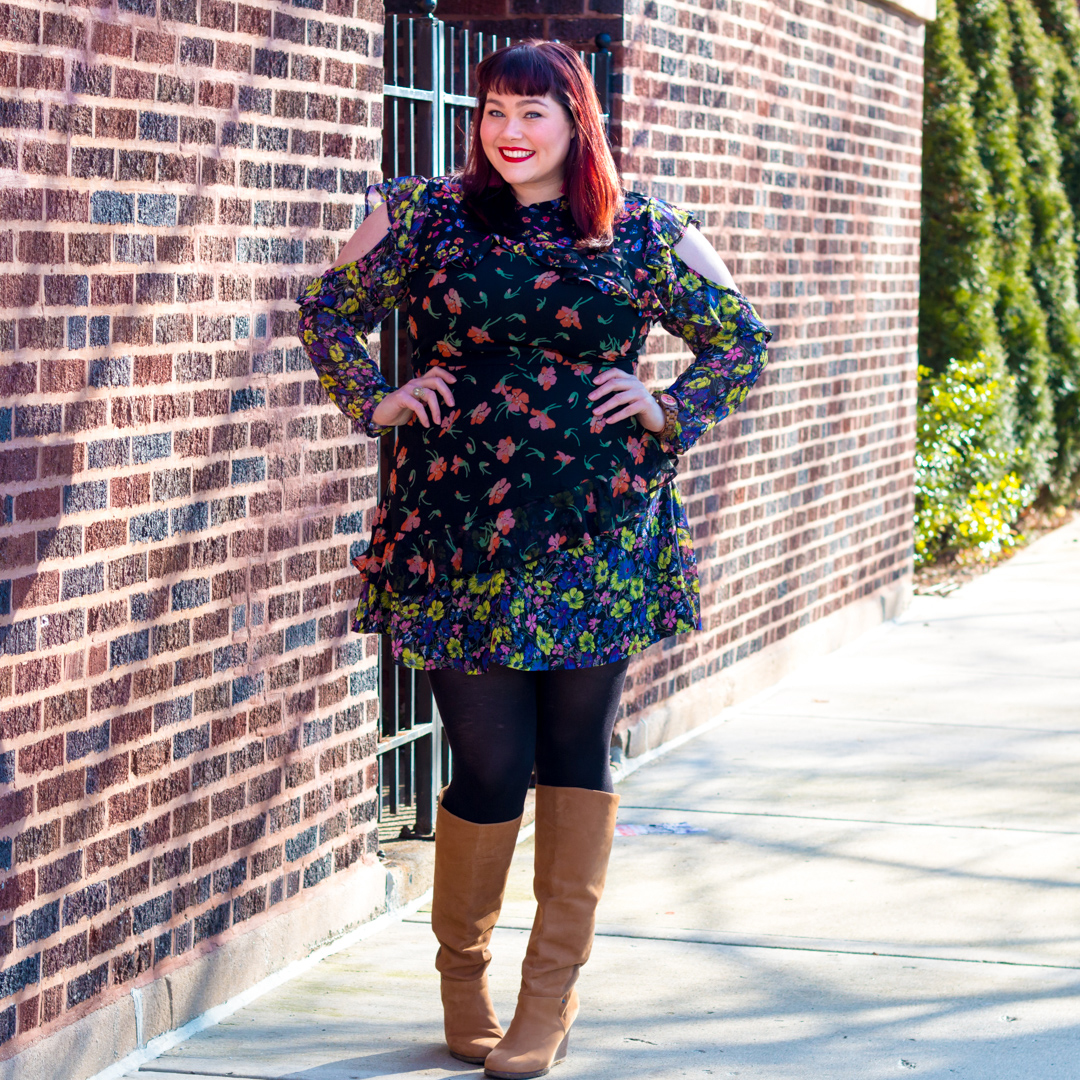 Plus Size Model Amber in Asos Curve Floral Dress