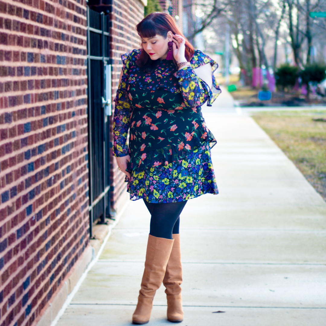 Winter Florals – Asos Curve Plus Size Floral Mini Dress with Frills
