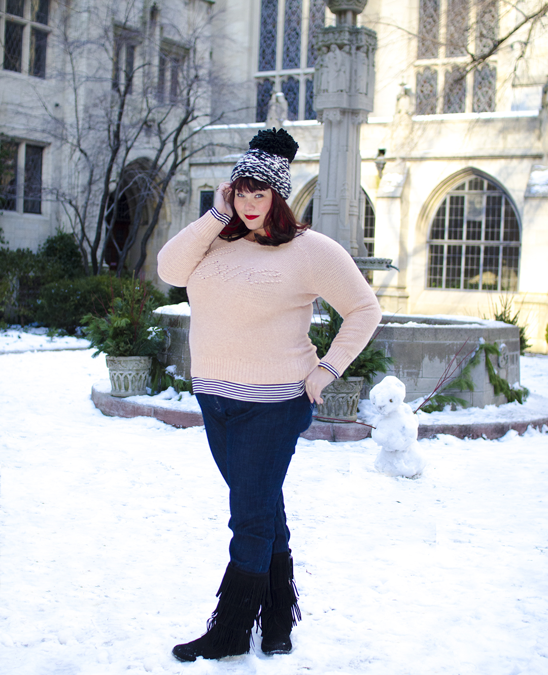 Plus Size Model in Casual Outfit in Snow