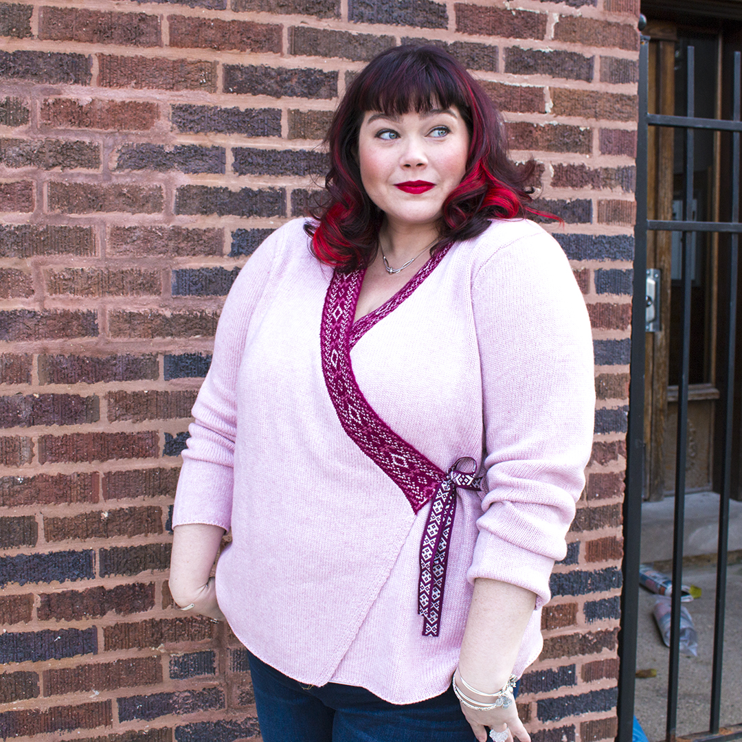 Plus Size Blogger in Pink Cardigan from Fullbeauty.com