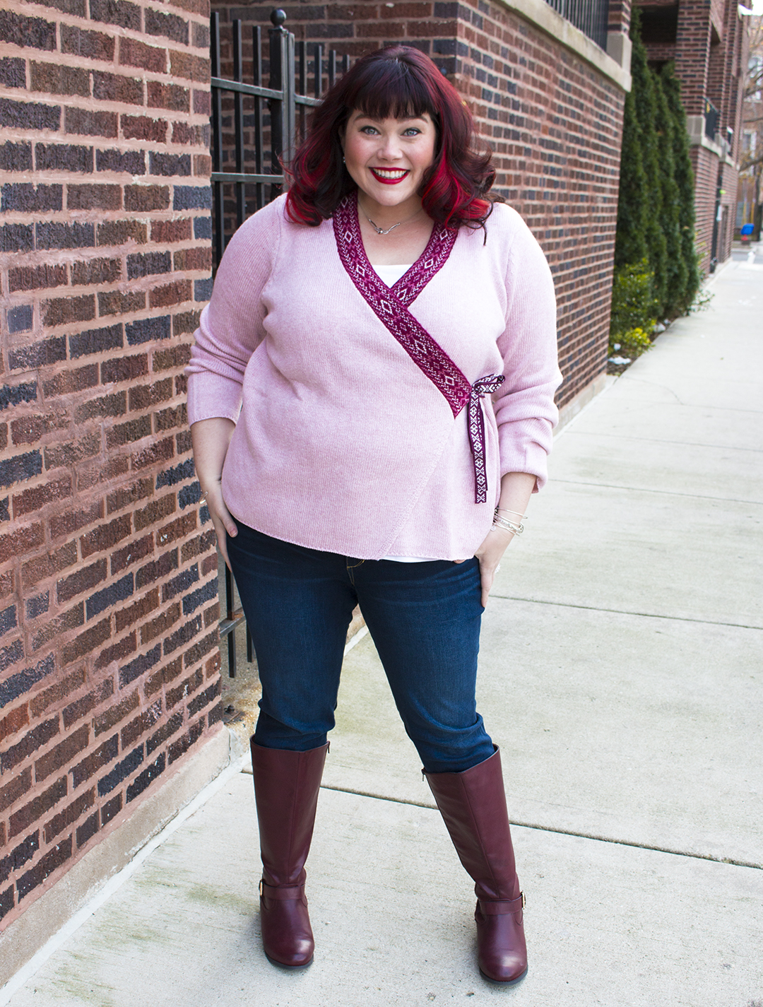 Plus Size Blogger Amber from Style Plus Curves wearing a pink Ellos plus size sweater from Fullbeauty.com
