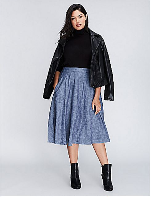 Plus Size Chambray Circle Skirt from Lane Bryant