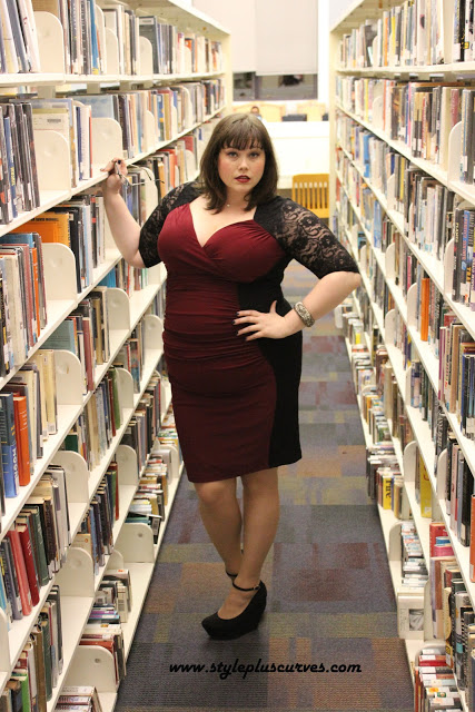 Plus Size Blogger Amber in Kiyonna Valentina Illusion Lace Dress