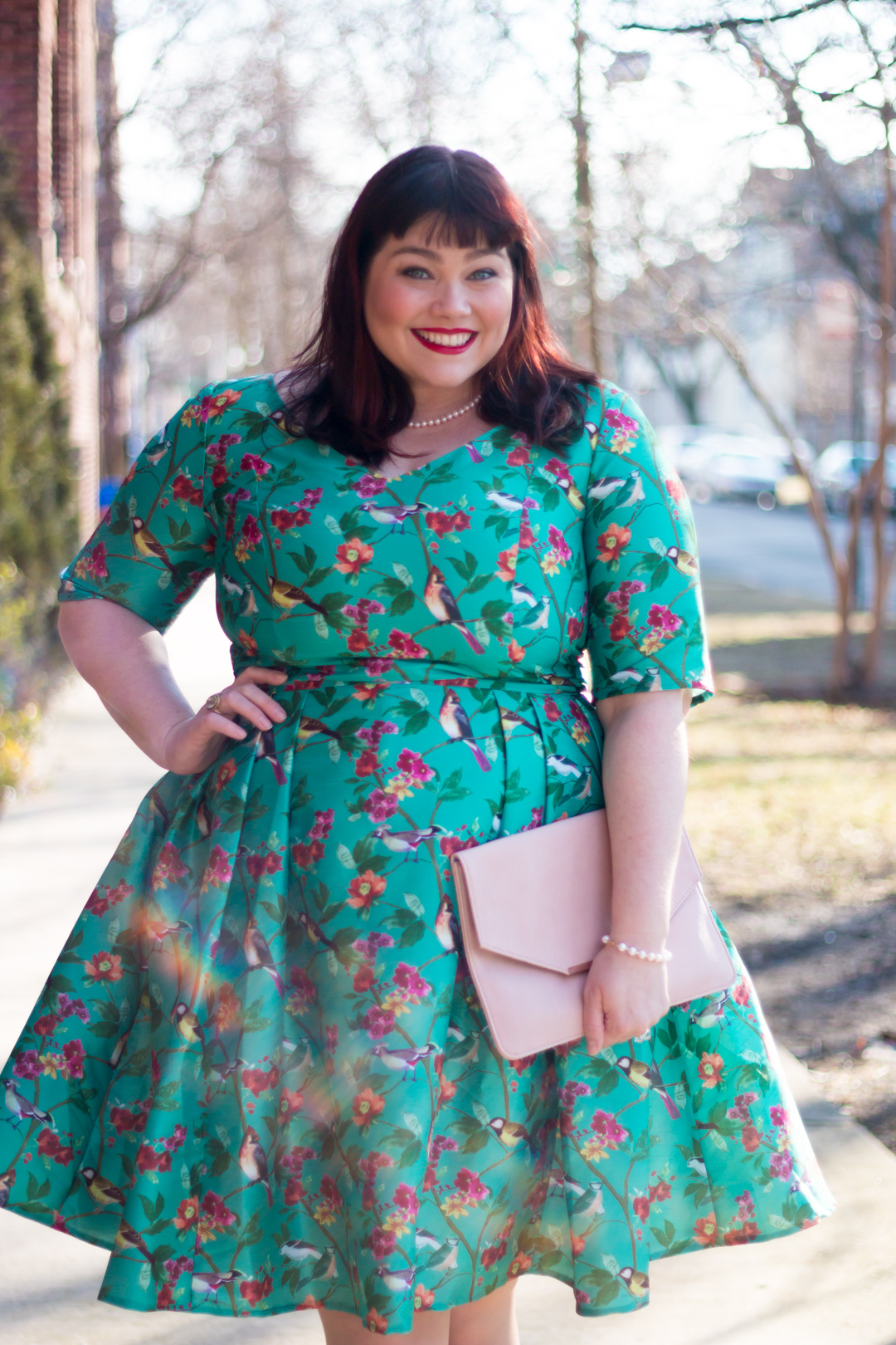 2e5cbf48fa7 Plus Size Blogger Amber in an eShakti dress with floral and bird print