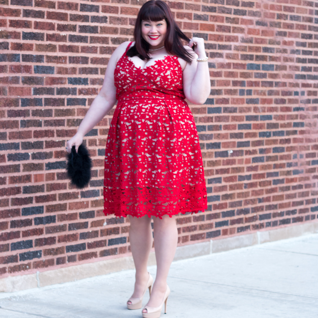 Red Hot Lace: Plus Size Dress from City Chic