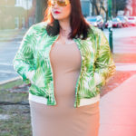 Chicago Plus Size Blogger Amber from Style Plus Curves in a Forever 21 Plus Palm Print Bomber Jacket