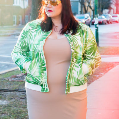 Forever 21 Plus Size Palm Print Bomber Jacket and Nude BodyCon Dress