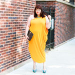 Lane Bryant Gold Yellow One Shoulder Draped Dress