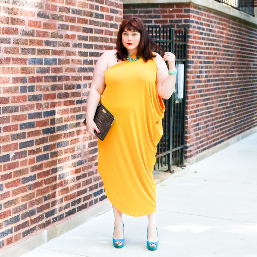 Plus Size Gold Goddess: Lane Bryant One Shouldered Draped Dress
