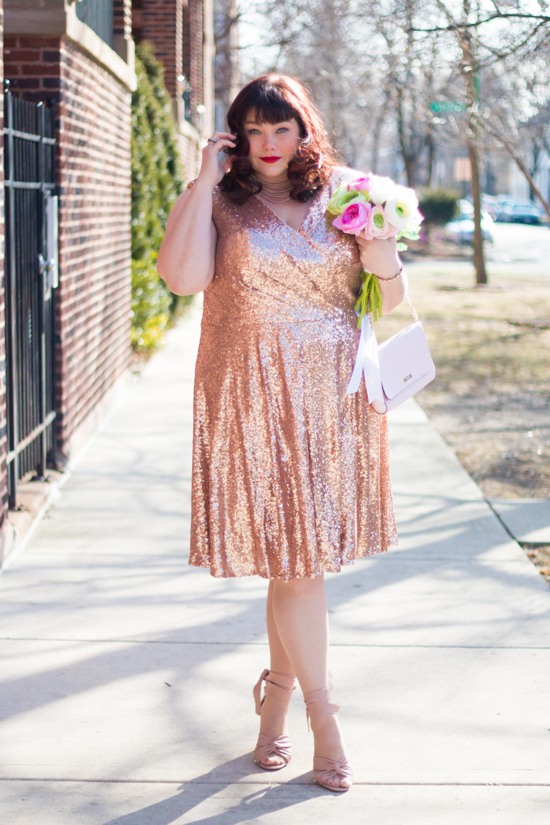 795e079d73f7 Plus Size Valentine's Style: Pink Sequin Cocktail Dress from Sydney's Closet