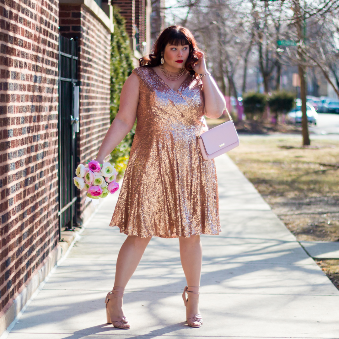 Sydney's Closet, Rose Gold Sequin Dress, Plus Size Cocktail Dress, Chicago Blogger, Plus Size Blogger, Style Plus Curves