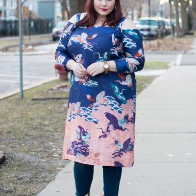 ASOS Curve Cold Shoulder Dress in Bird Floral Print