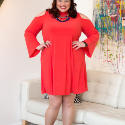 Avenue Mockneck Cold Shoulder Plus Size Dress in Coral