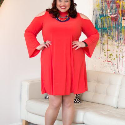 Avenue Mockneck Cold Shoulder Plus Size Dress