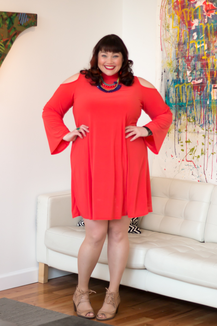 Avenue Mockneck Cold Shoulder Plus Size Dress