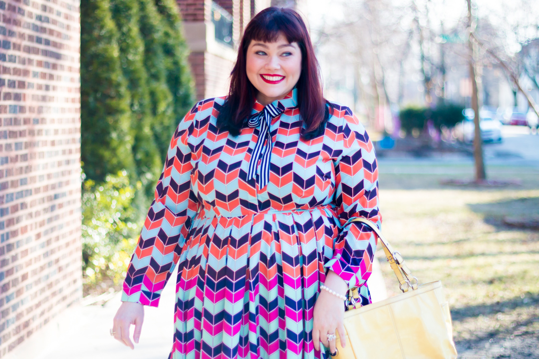 Chicago Plus Size Blogger in Eloquii Colorful Abstract Long Sleeve Printed Fit and Flare Dress