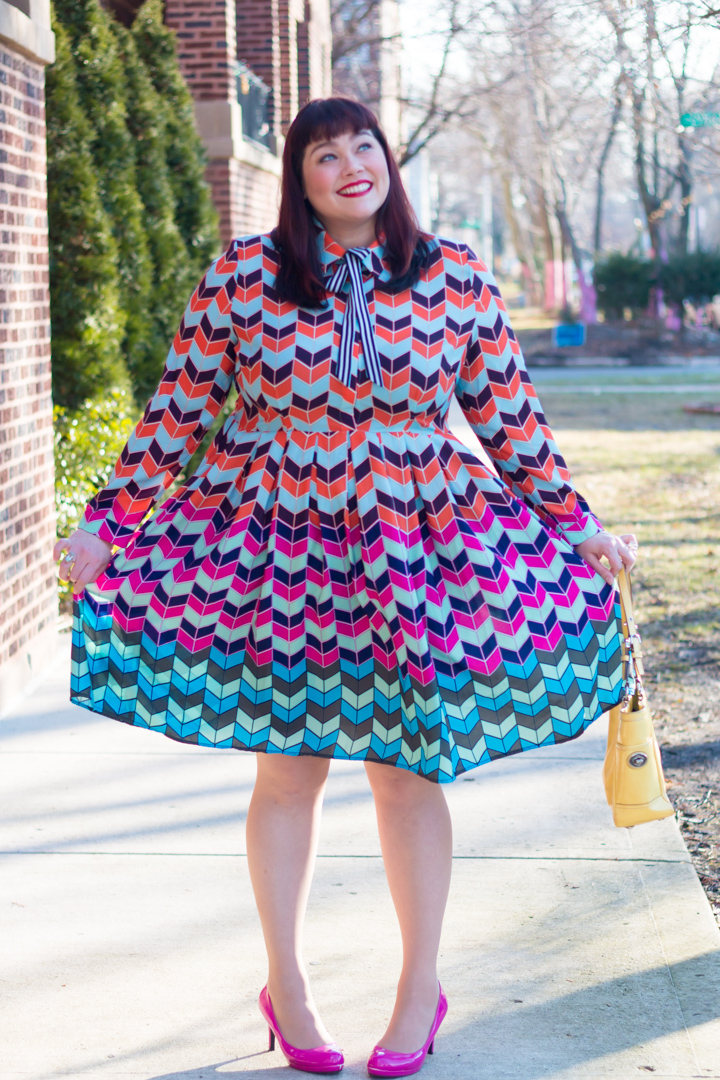Chicago Plus Size Blogger in Eloquii Colorful Abstract Fit and Flare Plus Size Dress
