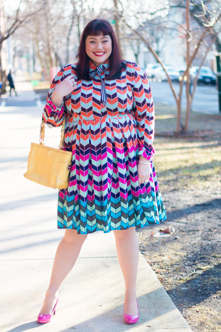 a5e2c3bd31f Chicago Plus Size Blogger in Eloquii Colorful Abstract Fit and Flare Plus  Size Dress