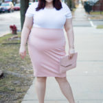 Chicago Plus Size Blogger in Blush Pencil Skirt and White Bodysuit from Forever 21 Plus