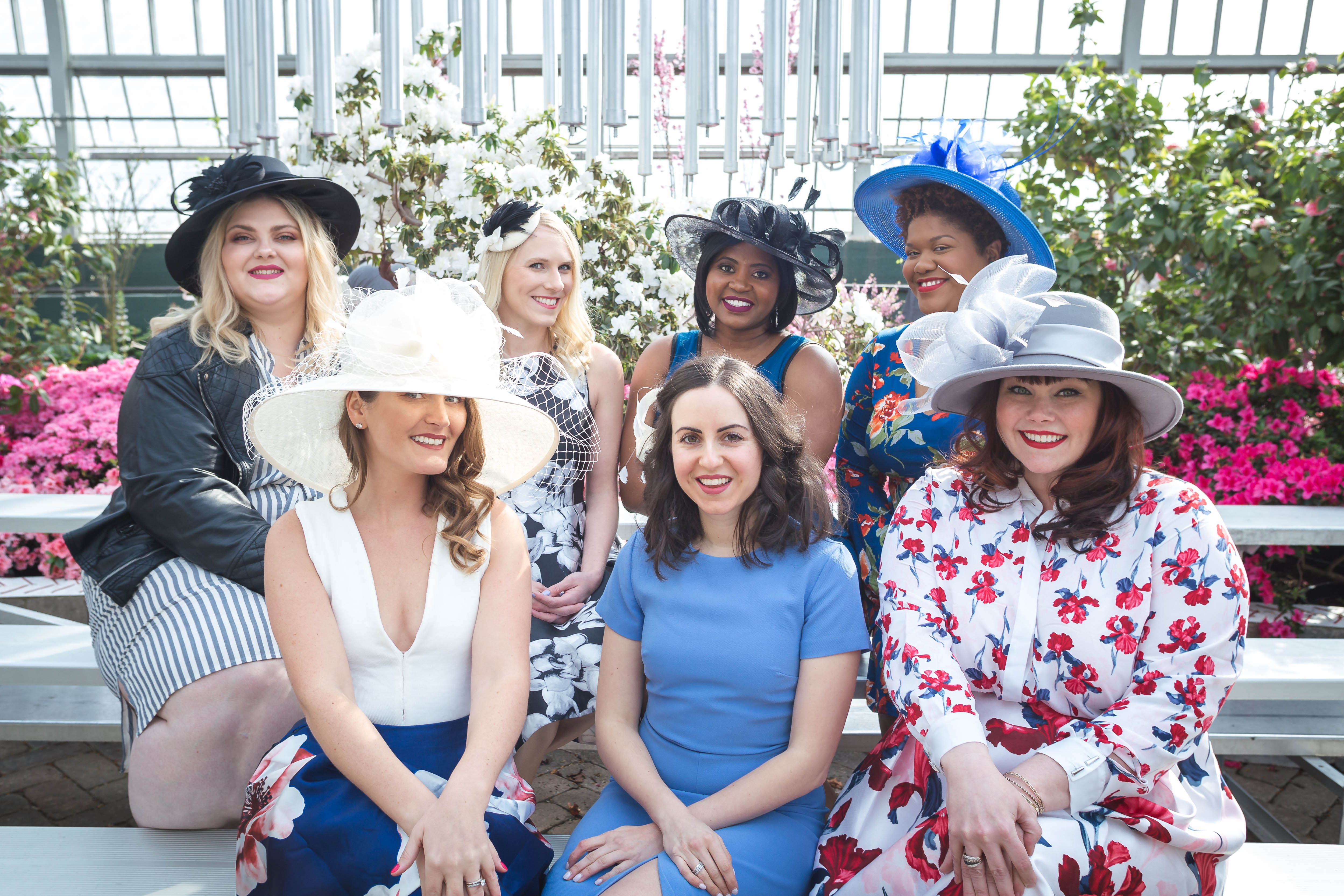 Chicago bloggers in spring dresses and derby hats for Mother's Day Fundraiser, Chicago Event